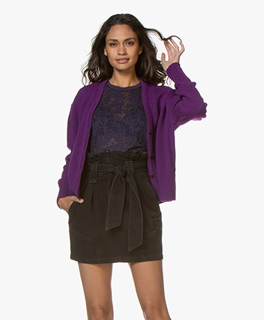 Sibin/Linnebjerg Center Wool Blend Button-through Cardigan - Clear purple