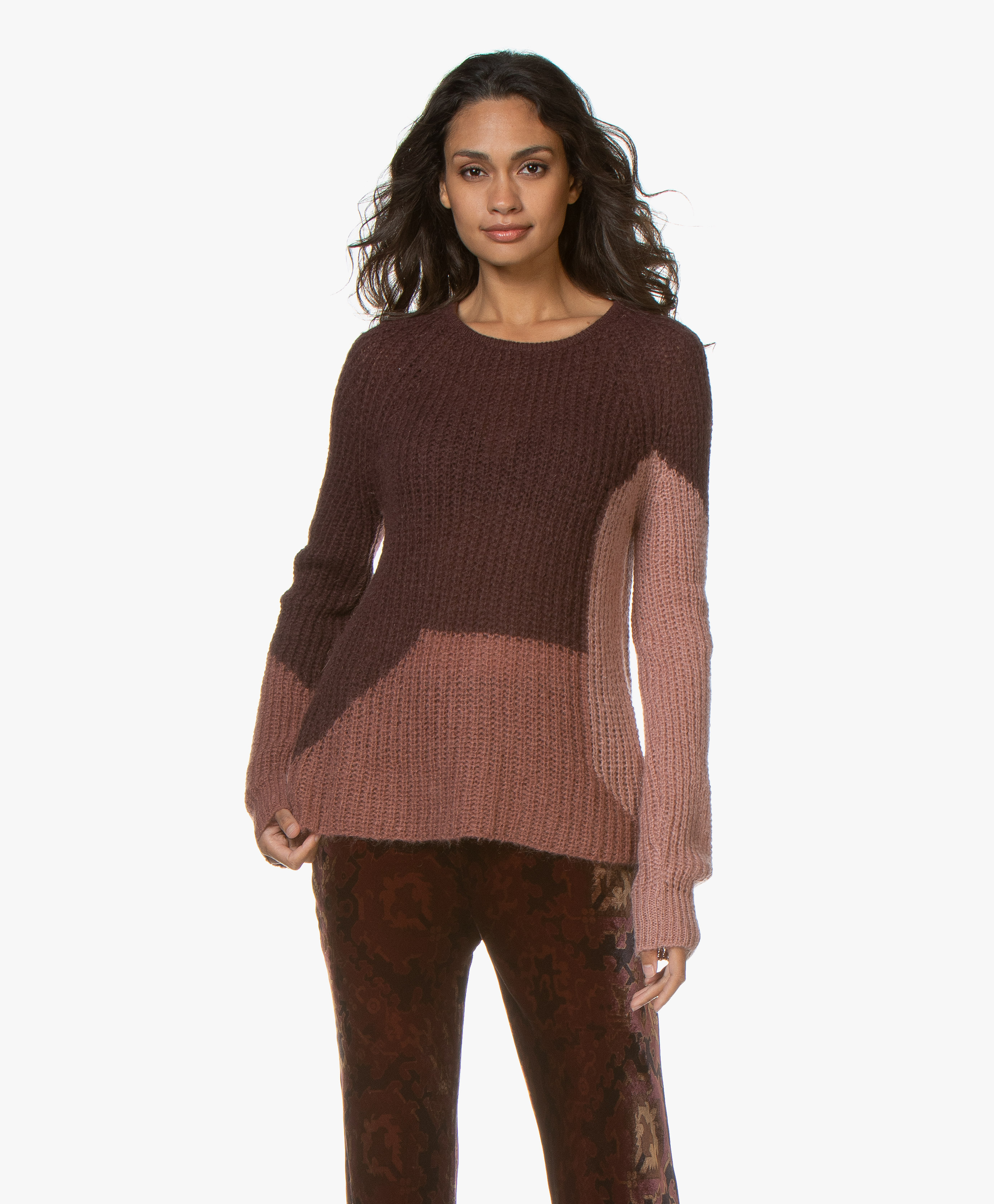 Wool Overs Womens Silk and Cotton Soft Feel V Neck Cardigan Aubergine M