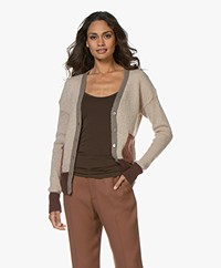 indi & cold Color Block Mohair Blend Cardigan - Beige