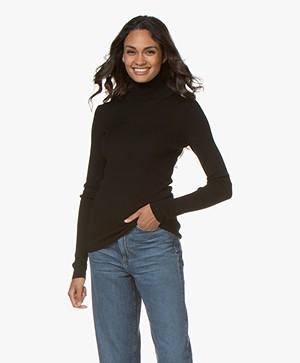 Closed Rib Jersey Turtleneck Sweater - Black