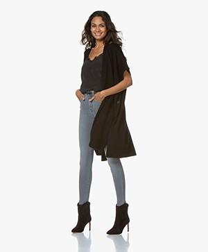 Repeat Poncho Vest met Korte Mouwen - Zwart
