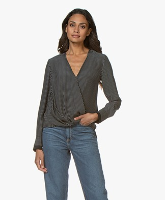 Rag & Bone Victor Silk Striped Blouse - Black