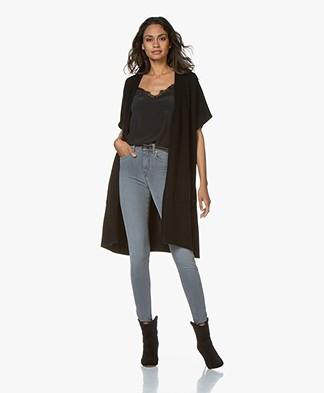 Repeat Short Sleeve Poncho Cardigan - Black