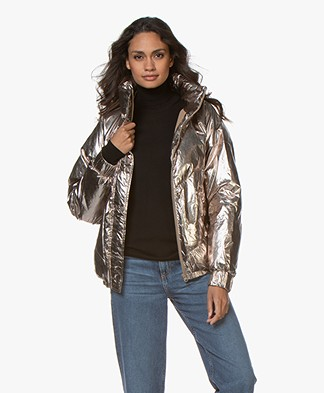 ba&sh Darcy Metallic Quilted Jacket - Gold