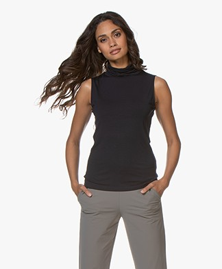 no man's land Sleeveless Jersey Turtleneck Top - Dark Sapphire