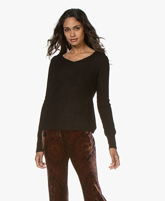 no man's land Alpaca Blend V-neck Sweater - Black