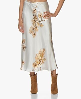 Pomandère Silk Printed Midi Skirt - Milky White