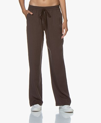 Josephine & Co Gilles Viscose Twill Pull-on Pants - Dark Brown