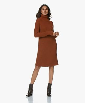 Drykorn Arwenia Rib Knit Turtleneck Dress - Rust