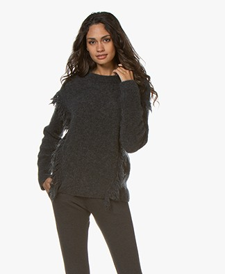 no man's land Franje Trui met Mohair - Dark Charcoal