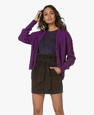 Sibin/Linnebjerg Center Wool Blend Button-through Cardigan - Clear purple