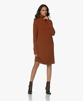 Drykorn Arwenia Rib Knit Turtleneck Dress - Rust