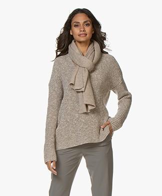 Alpaca Loca Knitted Wool Blend Scarf - Beige