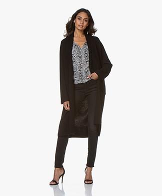 Repeat Long Open Wool Blend Cardigan - Black