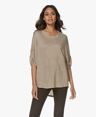 IRO Hilco Oversized Linen T-shirt - Dark Beige