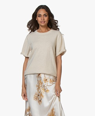 extreme cashmere N°64 Long Knitted T-shirt - Latte