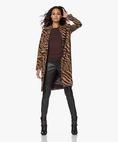 Kyra & Ko Lykke Long Jacquard Blazer Jacket - Gold Spice