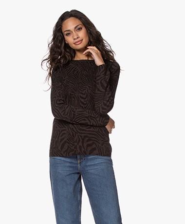 Belluna Torino Viscose Blend Print Sweater - Brown/Black