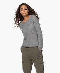 no man's land Kid Mohair Blend Lurex Sweater - Steel