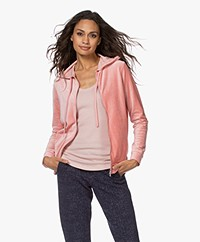 Majestic Filatures Nicky Velvet Hooded Sweat Cardigan - Rose Tan