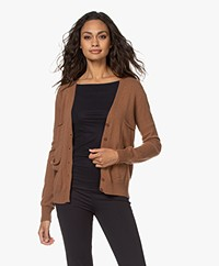 LaSalle Cashmere Button-through Cardigan - Mocca