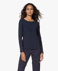 Kyra & Ko Anemoon Knitted Boat Neck Pullover - Blue Iris