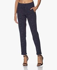 Kyra & Ko Diante Tweed-look Jersey Broek - Blue Iris