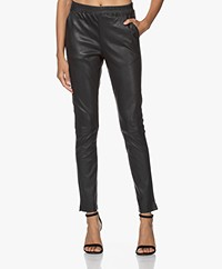 no man's land Leather Pull-on Pants - Dark Slate