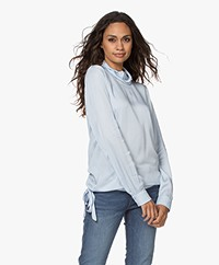 Kyra & Ko Alma Satin and Jersey Blouse - Arctic Blue