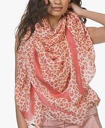 Repeat Viscose Leopard Print Scarf - Blush