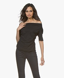 LaSalle Gedrapeerd Travel Jersey T-Shirt - Zwart