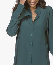Drykorn Charlee Silk Blend Crepe Blouse - Dark Green