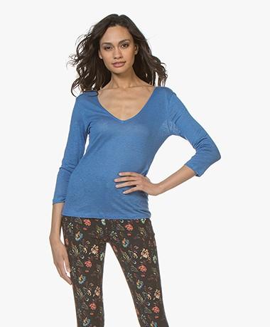 Majestic Filatures Jersey Linnen T-shirt met 3/4 Mouwen - Ponza Blauw