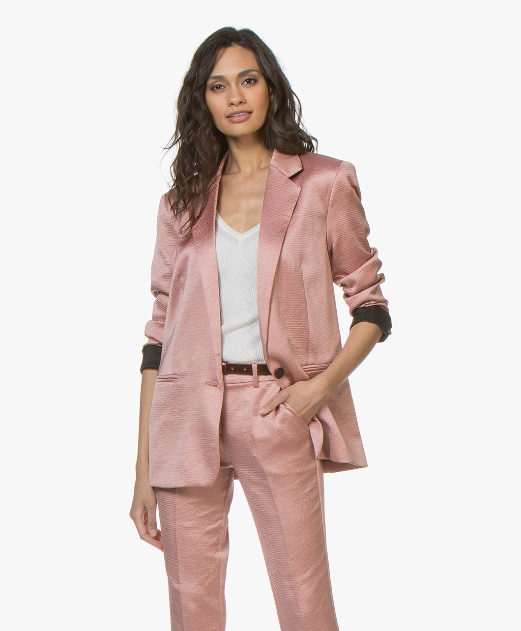Afbeelding van ba&sh Blazer Darcy Satijnen Pink Rose
