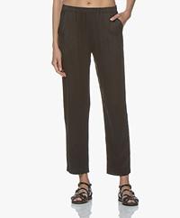 Majestic Loose-fit Silk Pants - Black