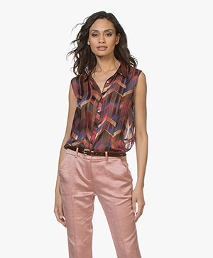 ba&sh Pepite Mouwloze Blousetop - Bordeaux Multicolored