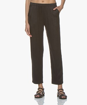 Majestic Loose-fit Silk Pants - Black