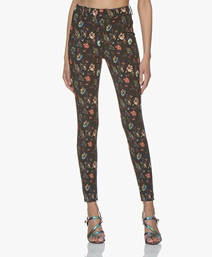 Drykorn Winch Jersey Pants with Flower Print - Black