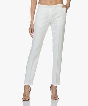 Pomandère Viscose Linnenmix Pantalon - Milky White