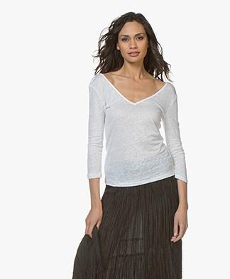 Majestic Filatures Jersey Linnen T-shirt met 3/4 Mouwen - Wit