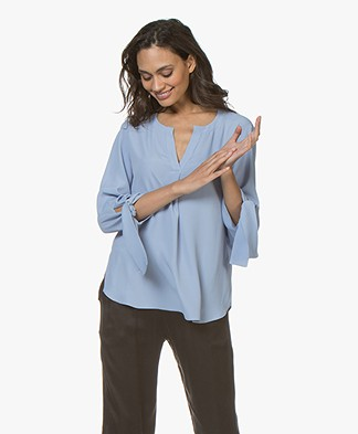 Drykorn Florenia Silk Blend Blouse with Tie Cuffs - Blue