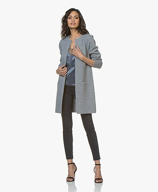 Sibin/Linnebjerg Zuni Long Open Cardigan - Sweat Grey