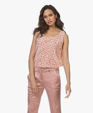 Repeat Mouwloze Luipaardprint Top - Blush