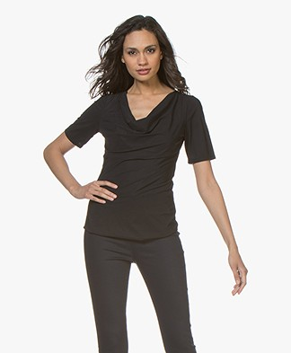 LaSalle Draped Travel Jersey T-Shirt - Black