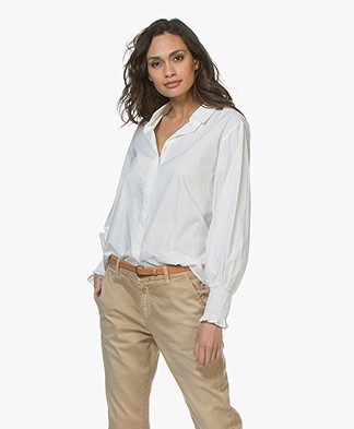 ba&sh Pearl Blouse with Smocked Cuffs - White