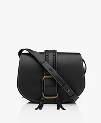ba&sh Teddy M Leather Shoulder Bag - Black