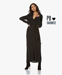 Denham Hyoko Cupro Blend Maxi Shirt Dress - Black