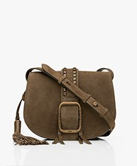 ba&sh Teddy M Suede Leather Shoulder Bag - Khaki