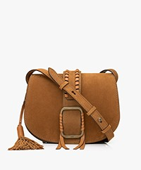 ba&sh Teddy M Suede Leather Shoulder Bag - Cognac