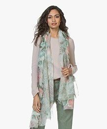 LaSalle Linen Scarf with Print - Flower